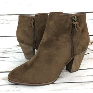 New Merona 9.5 Ankle Boots Brown Faux Suede